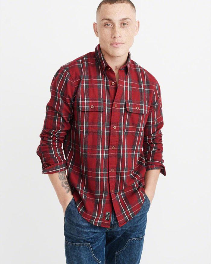 アバクロ新作チェック柄シャツ/ネルシャツ